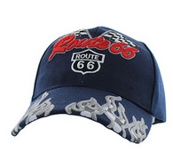 VM256 Route 66 Road Racing Flags Velcro Cap (Solid Navy)