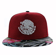 SM642 Mexico Snapback Cap (Red & Flower)