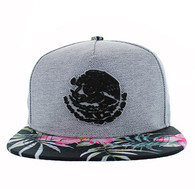 SM642 Mexico Snapback Cap (Grey & Flower)