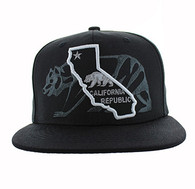 SM807 California Republic Snapback (Black & Black)