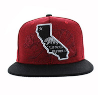 SM807 California Republic Snapback (Red & Black)