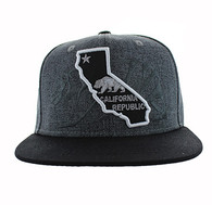 SM807 California Republic Snapback (Charcoal & Black)