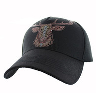 VM834 Deer Velcro Cap (Black & Black)
