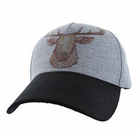 VM834 Deer Velcro Cap (Grey & Black)