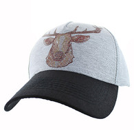 VM834 Deer Velcro Cap (White Grey & Black)