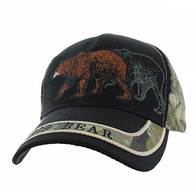 VM150 Hunting Bear Velcro Cap (Black & Hunting Camo)