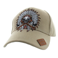 VM699 Native Pride Indian Chief Velcro Cap (Solid Khaki)