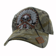 VM699 Native Pride Indian Chief Velcro Cap (Solid Hunting Camo)