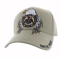 VM268 Native Pride Eagle Velcro Cap (Solid Khaki)