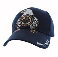 VM268 Native Pride Eagle Velcro Cap (Solid Navy)