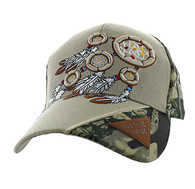 VM791 Native Pride Dream Catcher Velcro Cap (Khaki & Hunting Camo)