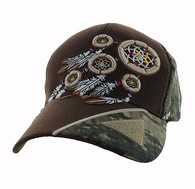 VM791 Native Pride Dream Catcher Velcro Cap (Brown & Hunting Camo)