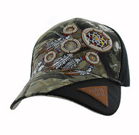 VM791 Native Pride Dream Catcher Velcro Cap (Hunting Camo & Black)