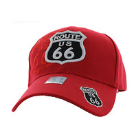 VM387 Route 66 Road Shield Velcro Cap (Solid Red)