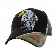 VM791 Native Pride Eagle Velcro Cap (Black & Hunting Camo)