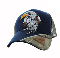 VM791 Native Pride Eagle Velcro Cap (Navy & Hunting Camo)