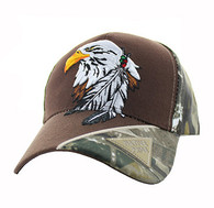 VM791 Native Pride Eagle Velcro Cap (Brown & Hunting Camo)