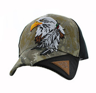 VM791 Native Pride Eagle Velcro Cap (Hunting Camo & Black)