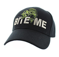 "VM712 ""Bite Me"" Fish Velcro Cap (Solid Black)"