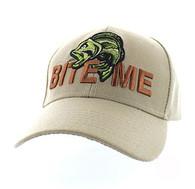 """VM712 """"Bite Me"""" Fish Velcro Cap (Solid Khaki)"""