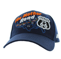 VM397 Route 66 Road Front Map Velcro Cap (Solid Navy)