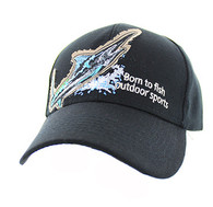 "VM739 ""Marlin Fish Velcro Cap (Solid Black)"