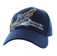 "VM739 ""Marlin Fish Velcro Cap (Solid Navy)"