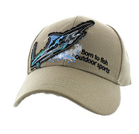 "VM739 ""Marlin Fish Velcro Cap (Solid Khaki)"