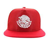 SM642 Mexico Mesh Snapback Cap (Solid Red)