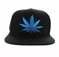 SM270 Marijuana Snapback Cap Hat (Solid Black - Aqua)
