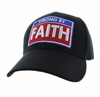 VM606 Strong  By Faith Christian Baseball Velcro Cap Hat (Solid Black)