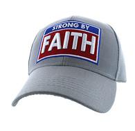 VM606 Strong  By Faith Christian Baseball Velcro Cap Hat (Solid Light Grey)