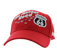 VM397 Route 66 Road Front Map Velcro Cap (Solid Red)