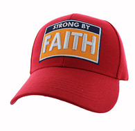 VM606 Strong  By Faith Christian Baseball Velcro Cap Hat (Solid Red)