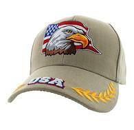 VM225 American USA Eagle Velcro Cap (Solid Khaki)