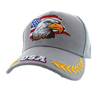 VM225 American USA Eagle Velcro Cap (Solid Light Grey)