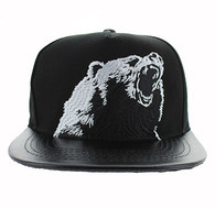 SM457 California Bear Cotton Snapback Cap Hat (Black & Black)