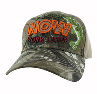 "VM195 ""FISH NOW WORK LATER"" Velcro Cap (Hunting Camo & Khaki)"