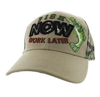 "VM195 ""FISH NOW WORK LATER"" Velcro Cap (Khaki & Hunting Camo)"