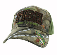 VM181 Born to Fish Forced to Work Velcro Cap (Hunting Camo & Olive)