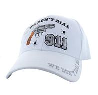 VM043 We Don't Dial 911 Velcro Cap (Solid White)