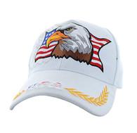 VM140 American USA Eagle Velcro Cap (Solid White)
