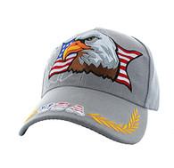 VM140 American USA Eagle Velcro Cap (Solid Light Grey)