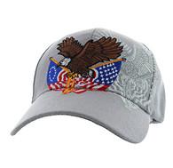 VM284 American USA Eagle Velcro Cap (Solid Light Grey)