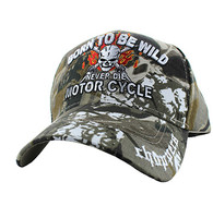 "VM795 ""Born To Be Wild"" Never Die Motor Cycle Choppers Baseball Cap Hat (Solid Hunting Camo)"