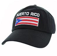 VM841 Puerto Rico Cotton Dad Velcro Cap (Solid Black)