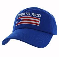 VM841 Puerto Rico Cotton Dad Velcro Cap (Solid Royal Blue)