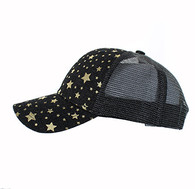VP804 Blank Plain Mesh Trucker Baseball Cap Hat (Black & Black)