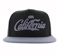 SM613 California Bear Cotton Snapback Cap Hat (Black & Grey)