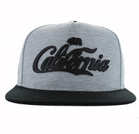 SM613 California Bear Cotton Snapback Cap Hat (Grey & Black)
